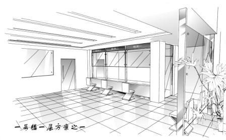 用电脑作的手绘方案,其一是电梯厅内设置的
