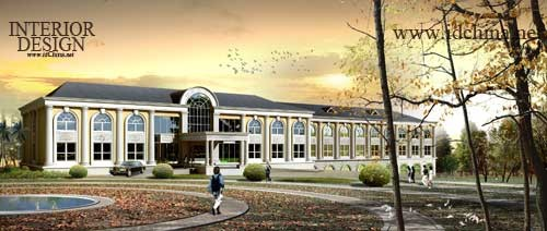 (5)建筑外檐装饰设计  四栋建筑均为欧式风格,共同形成培训中心主体