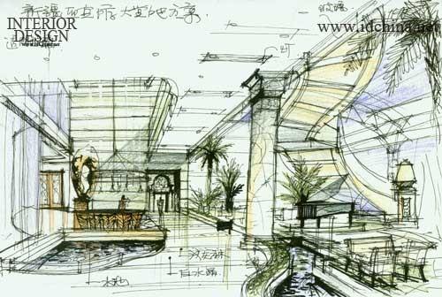 酒店大厅设计手绘图