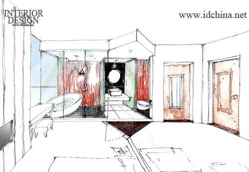 旅馆客房手绘图