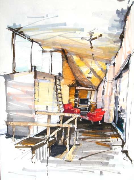 清闲书房设计--手绘_美国室内设计中文网图片