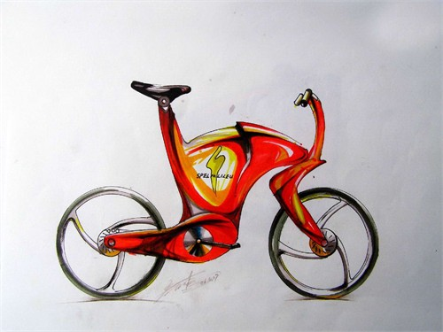 宝马自行车手绘
