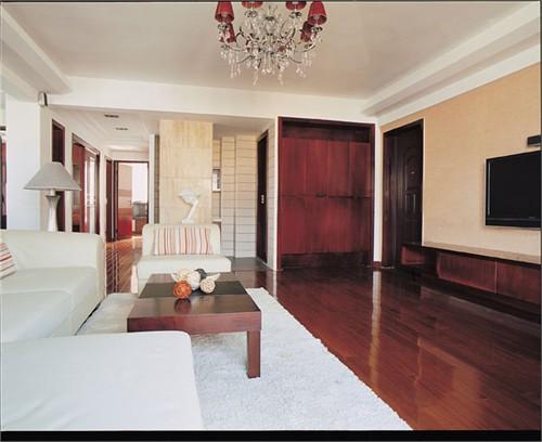 并在地面的实木地板和墙面石材装饰,强调空间开阔,大气质感.
