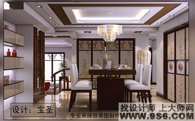 中式效果错层2_美国室内设计中文网