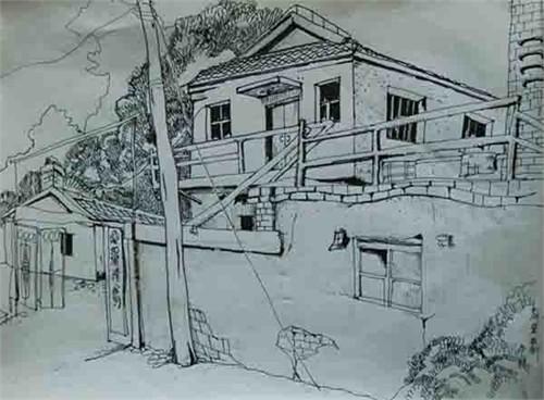 简单建筑钢笔画速写图片展示_简单建筑钢笔画速写