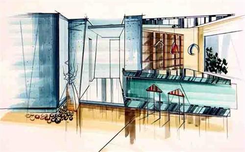 家居空间设计--手绘效果图_美国室内设计中文网