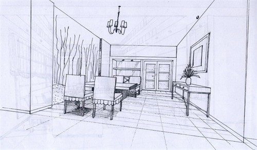 餐厅客厅一体透视手绘