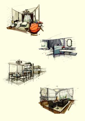 新古典主义手绘草稿_美国室内设计中文网