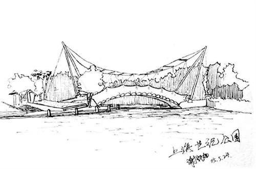 苏州园林手绘线稿