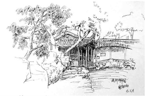 手绘苏州博物馆线稿