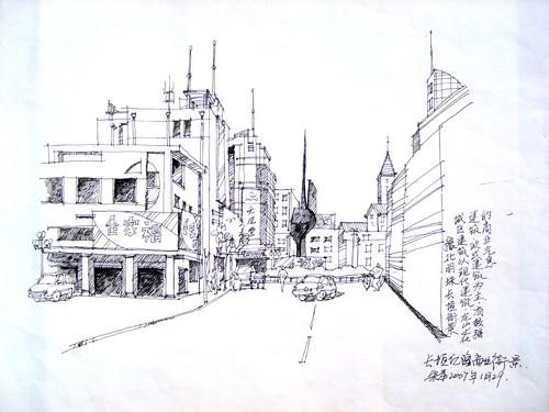 城市街景速写3图片