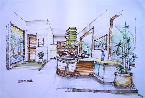 别墅手绘效果图1_美国室内设计中文网