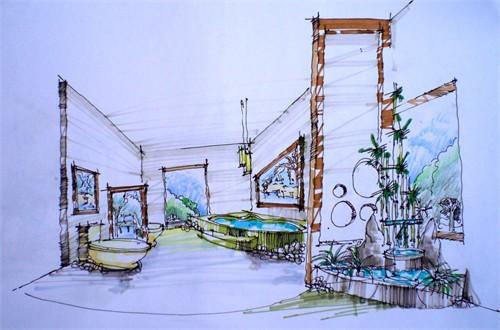 别墅手绘效果图4_美国室内设计中文网