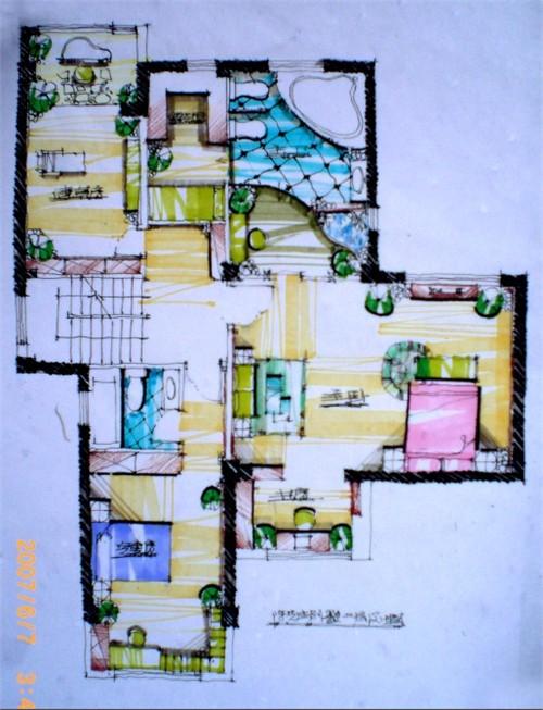别墅手绘效果图4