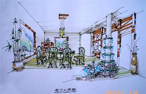 别墅手绘效果图6_美国室内设计中文网