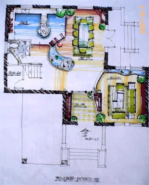 别墅手绘效果图7