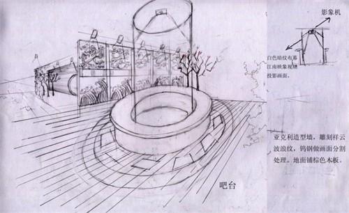 公园茶室手绘效果图