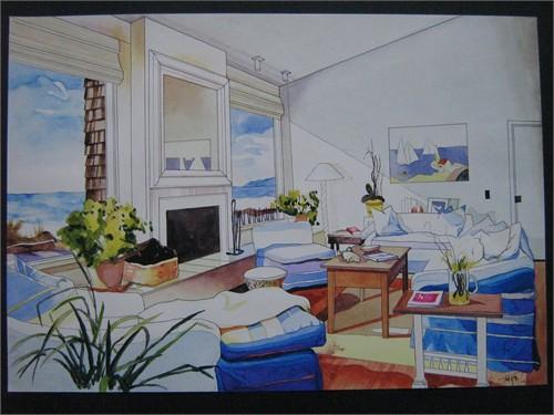 室内手绘图_美国室内设计中文网