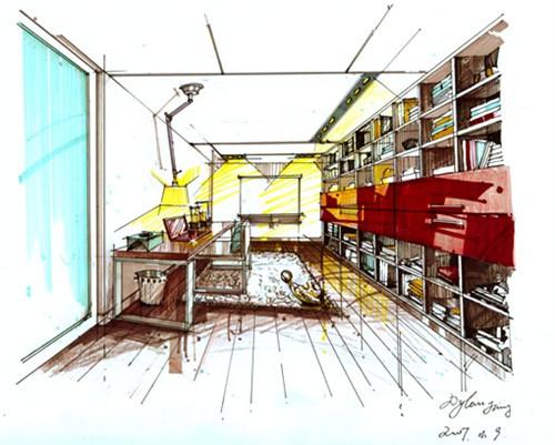 书房手绘效果图 - 第1页