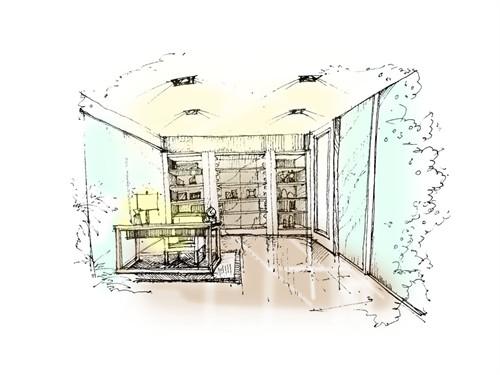手绘书房_美国室内设计中文网图片