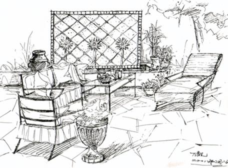庭院亭子手绘效果图_庭院设计手绘效果图