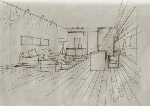 东方夏威夷别墅手绘手稿_美国室内设计中文网图片