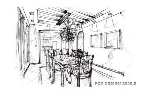 别墅室内设计手绘图线稿