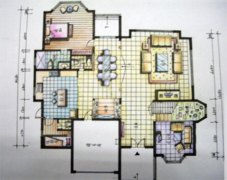 手绘平面图_美国室内设计中文网