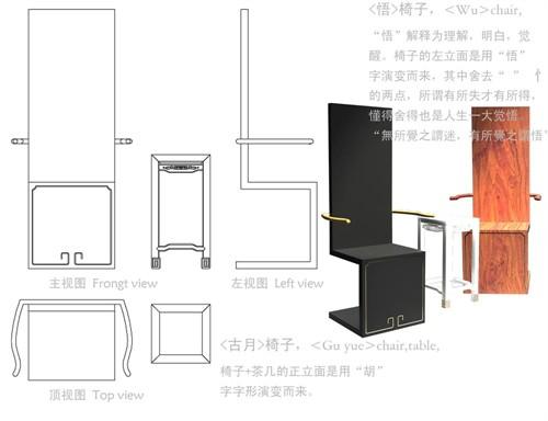 现代家具手绘三视图
