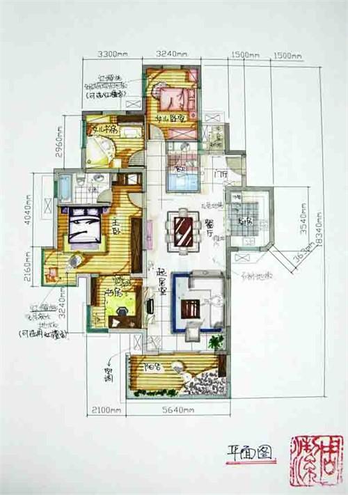 室内设计手绘平面_美国室内设计中文网