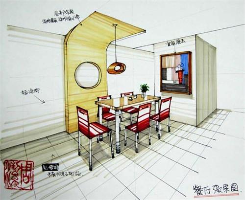 室内设计手绘效果图餐厅高清图片