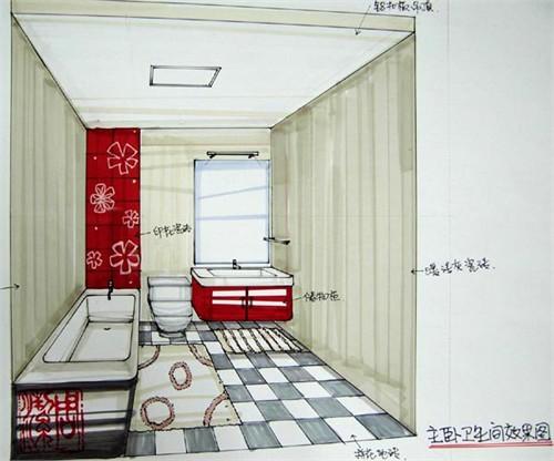 手绘室内效果图_室内设计手绘效果图卫生间_美国室内设计中文网