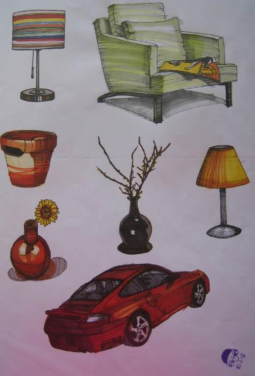 手绘入门技巧- 第1页900 _室内手绘家具单体线稿练习图-大写艺设计教