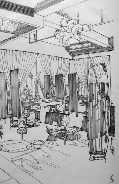 室内设计手绘效果图 线描1