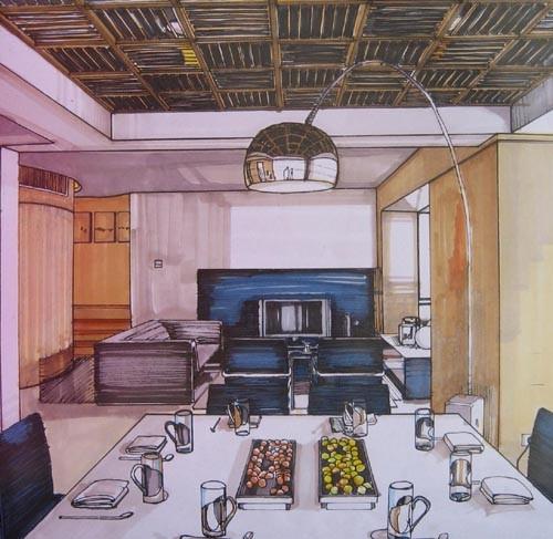 室内设计手绘效果图 马克笔3
