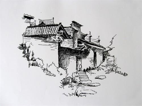 中国建筑素描手绘