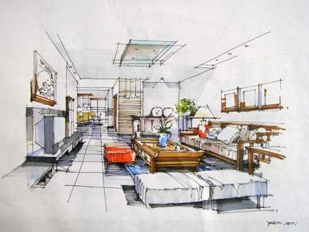 客厅手绘效果图_美国室内设计中文网
