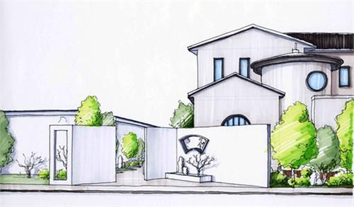 别墅庭院手绘效果图_美国室内设计中文网