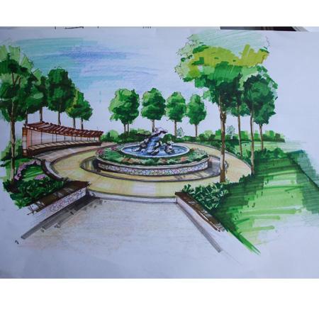 杜芸; 手绘4; 景观节点手绘效果图图片展示;