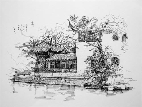 苏州博物馆手绘图片