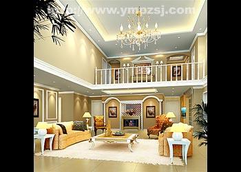 深圳市保利城 欧式复式楼房装修设计_美国室内设计图片