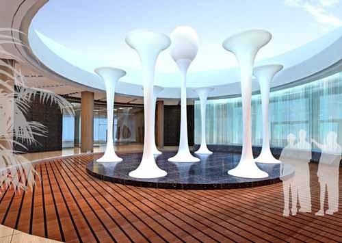 用大块面的天花和墙面木条组合来温暖和平衡空间的