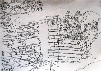 泸沽湖手绘速写图