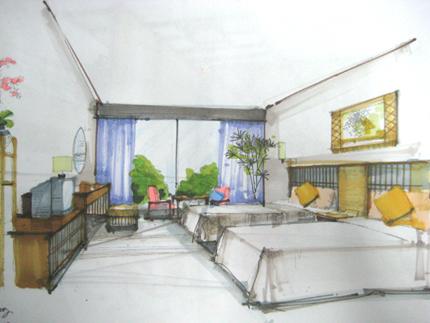 我的手绘作品集(1)-样板房-冯君成设计作品; 透视手绘效果图图片