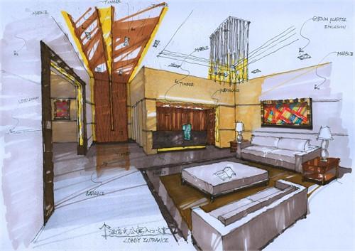 此为酒店式公寓大堂手绘图