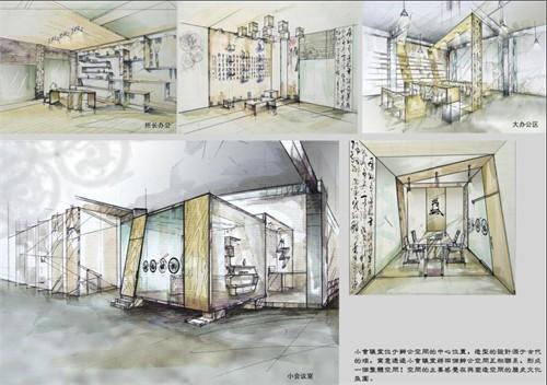 公共空间手绘效果图 室内设计效果图手绘 手绘图片 办公空间快题设计图片