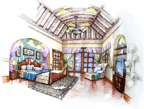 同升湖别墅手绘方案_美国室内设计中文网