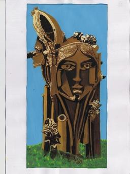 公园雕塑(少女头像)设计手绘效果图