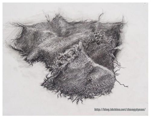 写实素描  时间:2005-10  地点:中南大学艺术学院  细致的刻画布纹,在