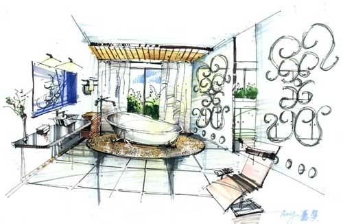 室内生态设计方向手绘作品1